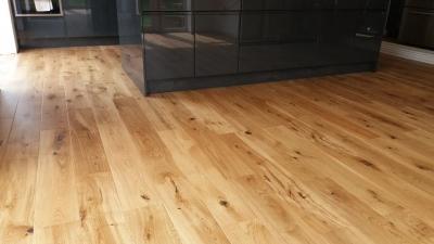 Engineered oak flooring fitting.